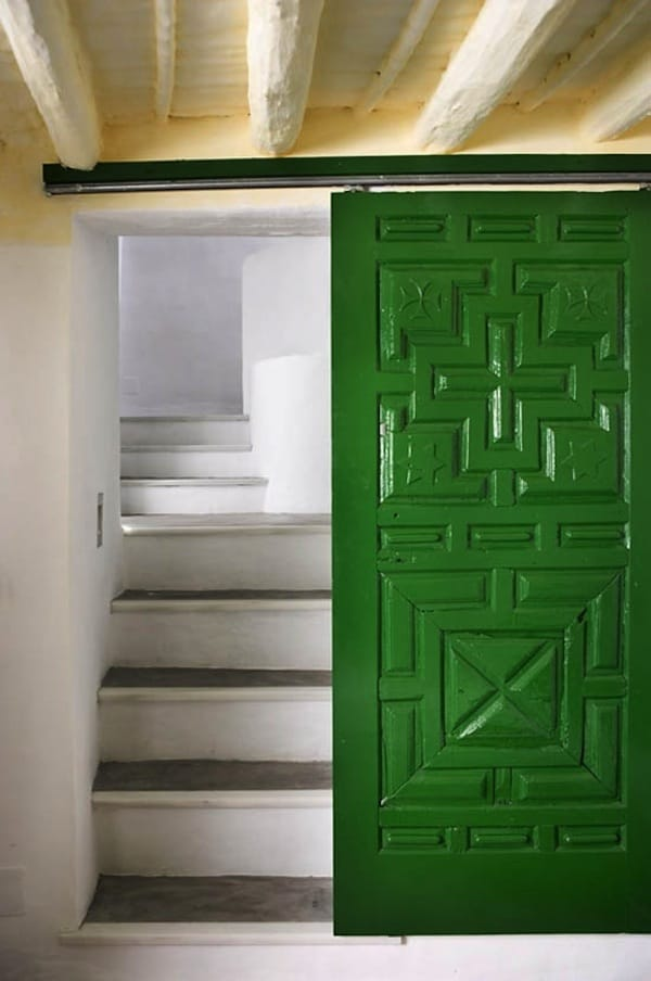 Green Panel Door & Stairs