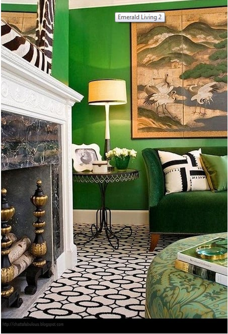 traditional transition living room in emerald green