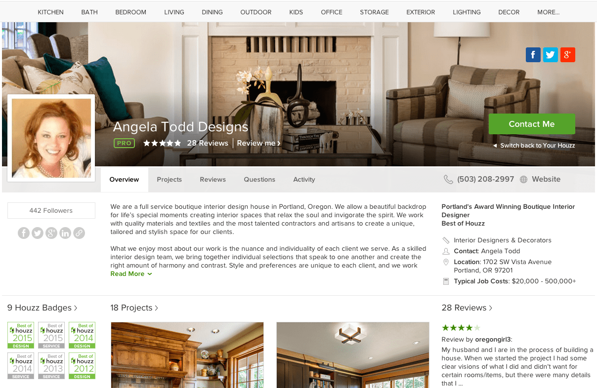 Houzz profile – Angela Todd Designs