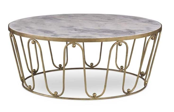 Gold Coffee Table with Marble