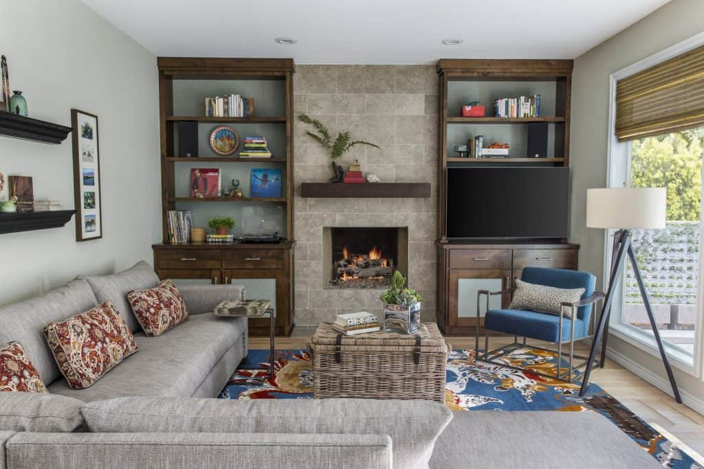 Family room 1990s fireplace makeover