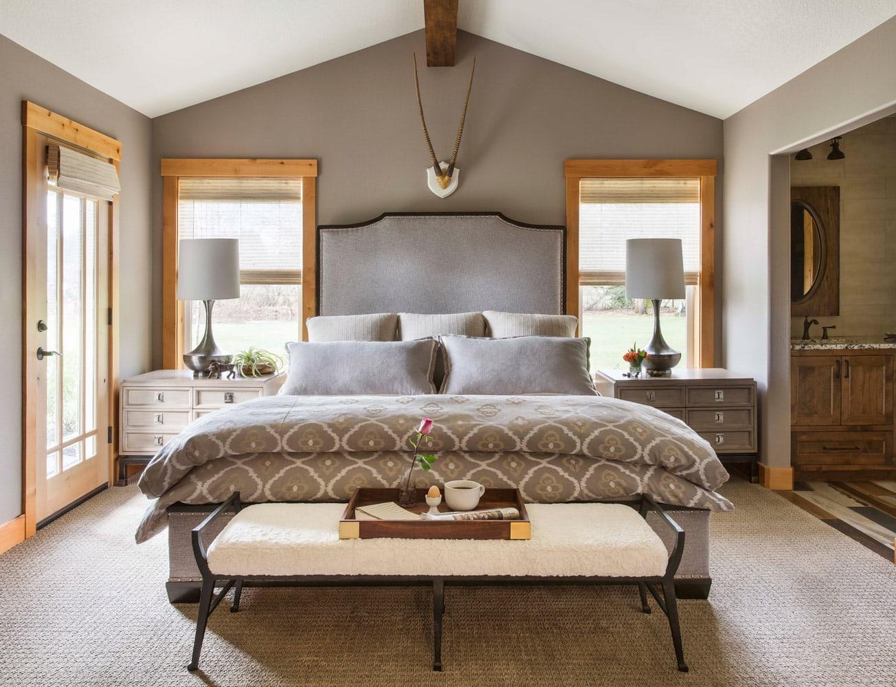 Whimsical Farmhouse Bedroom Interior Design bed lamps carpet windows
