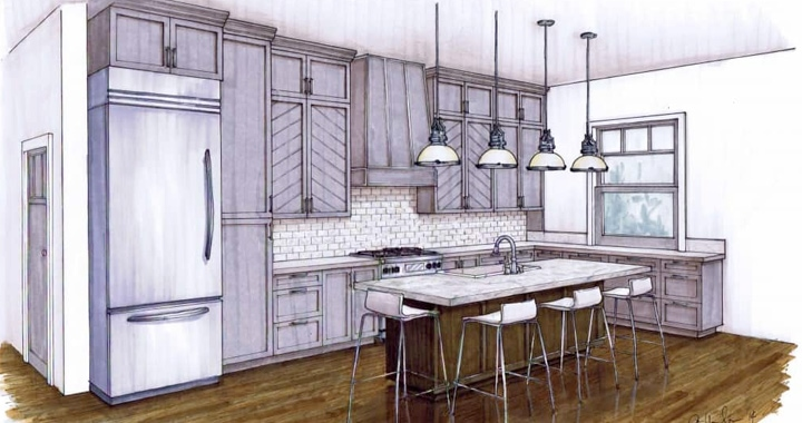 Angela Todd Kitchen Conceptboard Sketch